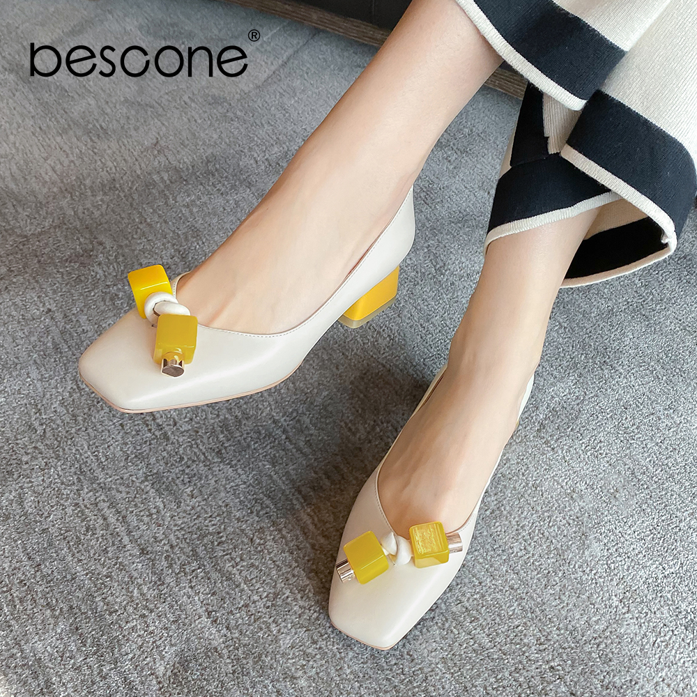 BESCONE Elegant Women' S Pumps Sweet Contrast Color Butterfly Knot Decoration Square Heel High Quality Shoes Slip-On Pumps BO513