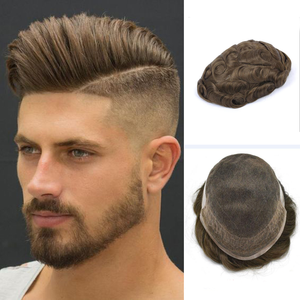 BYMC 6inch Remy Indian Hair Replacement System Mens Toupee French Lace With PU Wig Human Hairpieces Toupee For Men