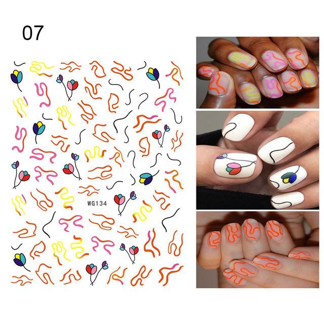 1Sheet 3D Nail Stickers Self-adhesive