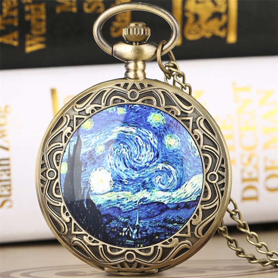 Antique Classic Starry Night Theme Quartz Pocket Watch Retro Bronze Pendant Necklace Clock Gifts For Men Women