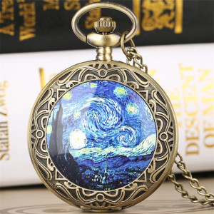 Antique Classic Starry Night Theme Quartz Pocket Watch Retro Bronze Pendant Necklace Clock Gifts for Men Women