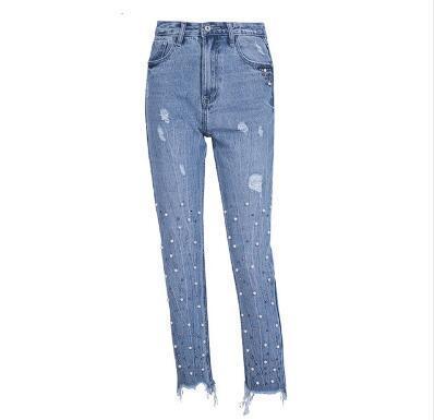 Parel kwasten blauw hoge задние джинсы vrouwelijke уличные карманные повседневные джинсы Zomer denim broek vrouwen bodem