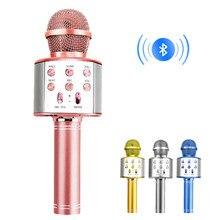 Micrófono inalámbrico de mano con Bluetooth para Karaoke, Mini dispositivo USB para música, altavoz profesional, grabador para cantar