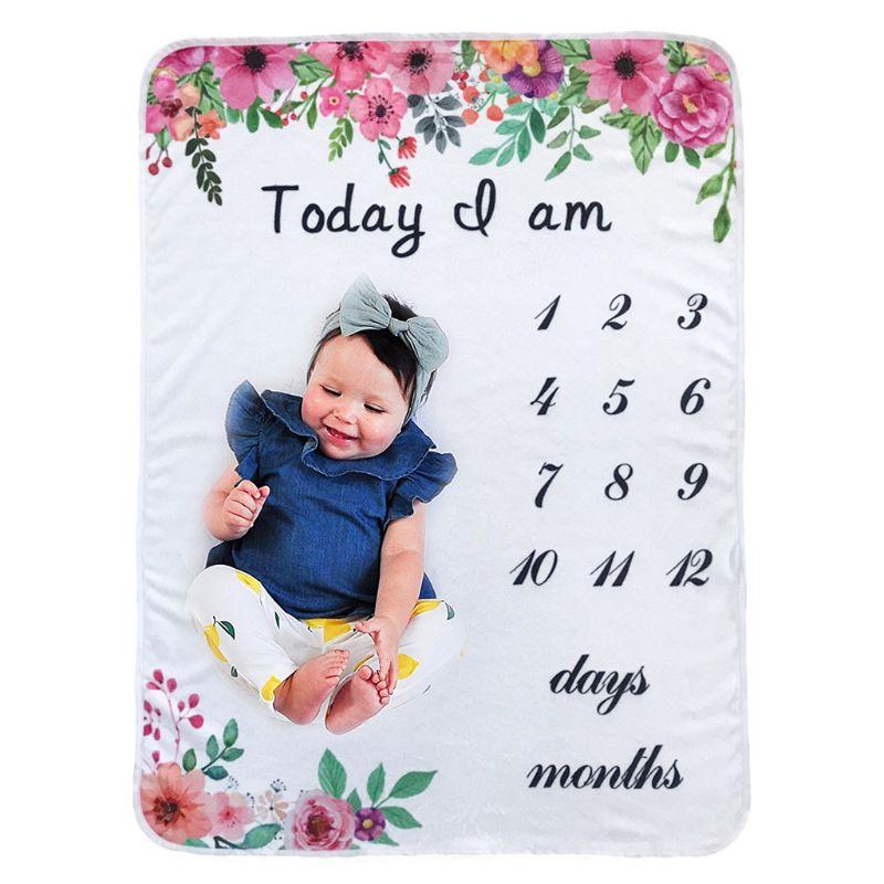 Baby Monthly Milestone Blanket Flower Pattern Infants Photography Backdrop Cloth Size: App.76 X 102 Cm