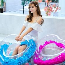 90 Feather Heart Swimming Ring Love Woman Inflatable Circle For Adult Pool Float Swimming Circle Summer Beach Inflatable Buoy(China)