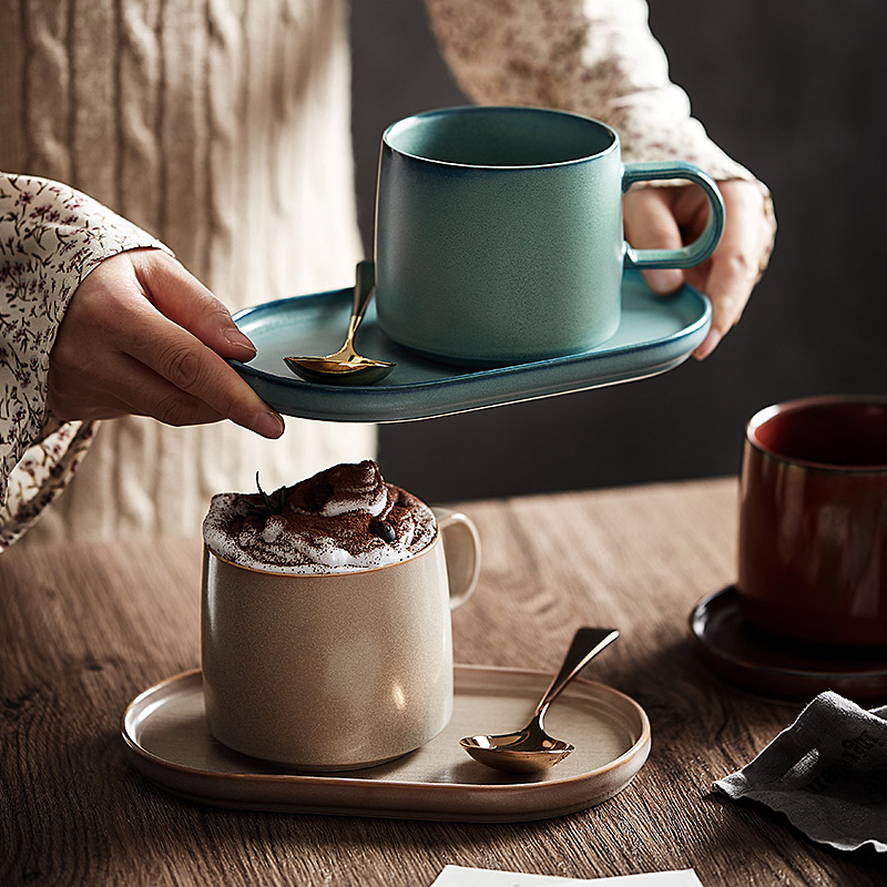 CHANSHOVA 400ml Ceramic tea cups and saucer sets coffee cups saucer sets Breakfast mug Dessert plate China Porcelain G167