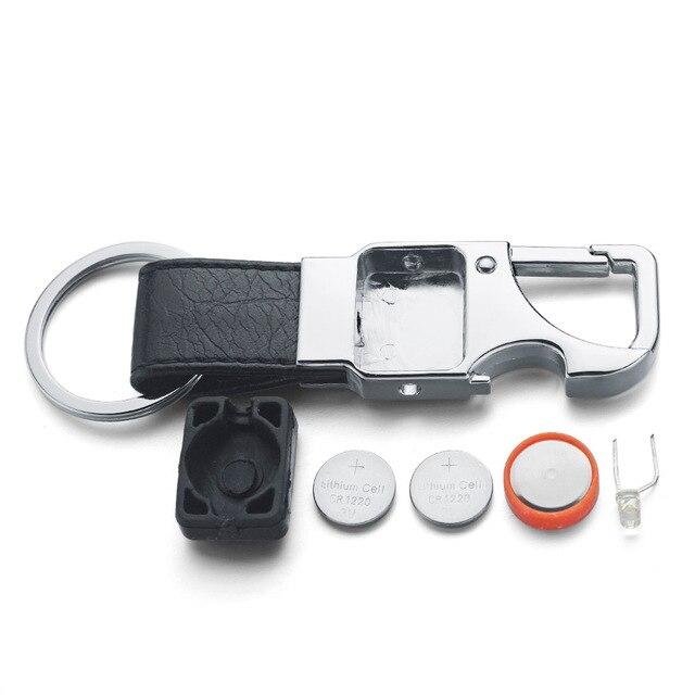 Dalaful niestandardowe napis brelok LED Lights lampa otwieracz do piwa butelka wielofunkcyjny skórzany mężczyźni Car Key Chain Ring Holder K355