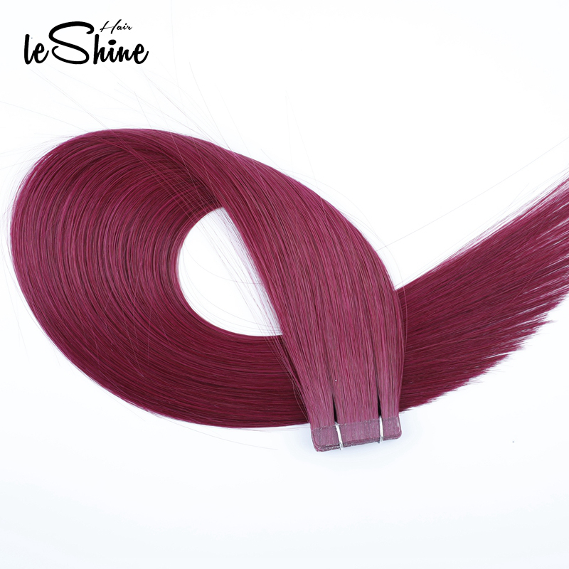 Leshine Hair Highlight 18inch Tape In Human Hair Extensions Remy Hair Skin Weft Hair Extensions 20PCS/PACK Deep Red Color Hair