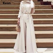 Jumpsuits Detachable Train  Muslim Evening Dress Scarf Islamic Dubai Kaftan Saudi Arabic Evening Gown Prom Dress Custom Made