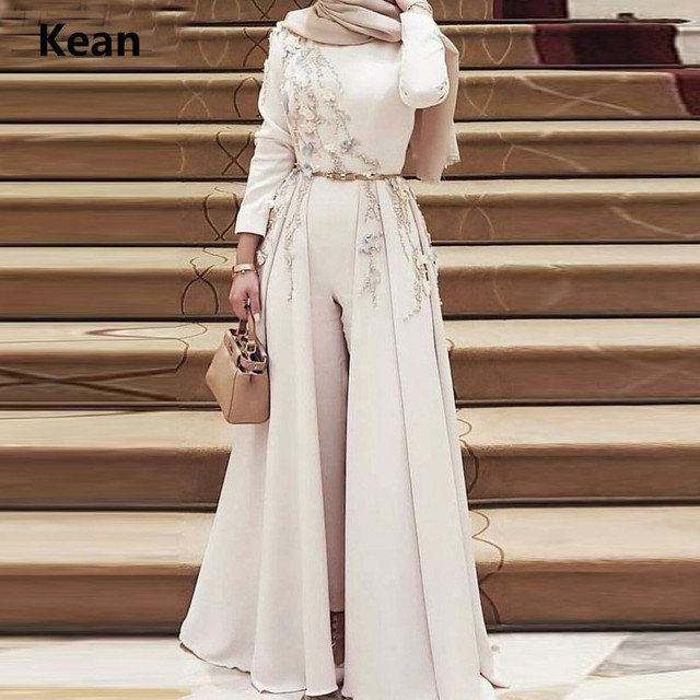 Robe de soirée musulmane, combinaisons détachables, écharpe islamique, robe de soirée, Kaftan, arabie saoudite, robe de bal sur mesure