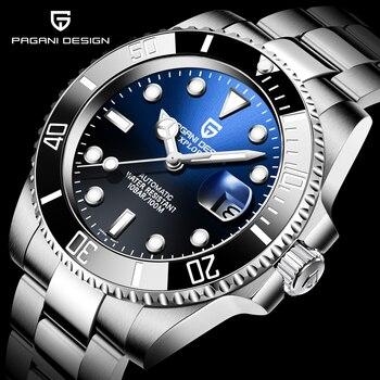 PAGANI DESIGN-reloj de pulsera mecánico automático para hombre, reloj con cristal de...