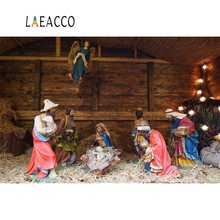 Laeacco Nativity Scene Jesus Birth Christmas Religious Barn Sheep Photographic Background Photography Backdrops For Photo Studio
