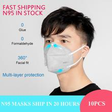 Bfaccia 10Pcs High Quality KN95 Mask PM2.5 Mouth Cover Dust Masks Breathing Valve Folding Non-woven Wholesale Dropshipping