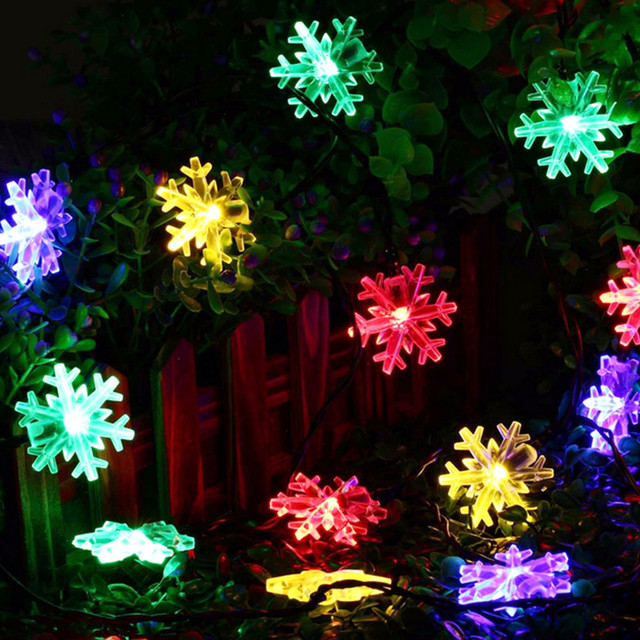Flocon de neige énergie solaire arbre de noël LED lumières jardin fée guirlande scintillant en plein air étanche fête de mariage décoration de vacances