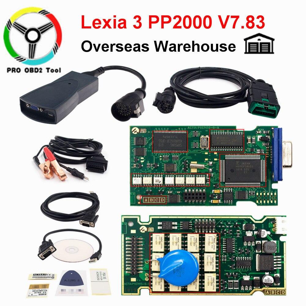 Le plus nouveau PP 2000 Lexia 3 V48 V25 pour la voiture de citroën Peugeot nouvelle Lexia-3 PP2000 outil de Scanner de Diagnostic avec la puce complète de Diagbox V7.83