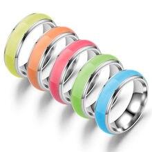 Moda aço inoxidável anéis luminosos para mulher e homem azul rosa cor verde brilhante no escuro jóias presente ZL-001