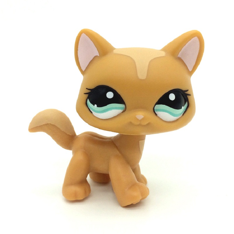 LPS Old Pet Shop Toys BULLDOG Dog 881 Bronw Dog With Pink Eyes Old Original Model Toy For Kids Christmas Gift