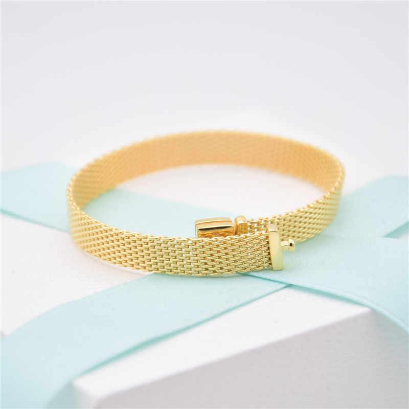 Neue Original 925 Sterling Silber Armband Gold Farbe Glanz Woven Mesh Reflexions Armreif Fit Frauen Bead Charm Fashion Schmuck
