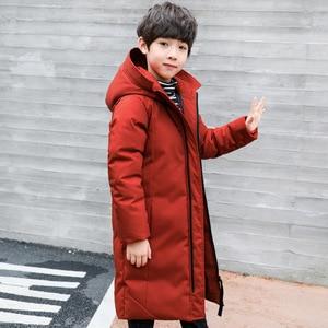 Image 5 -  30 degree children clothing boy clothes warm winter down cotton jacket Hooded coat Teen thicken outerwear kids waterproof parka