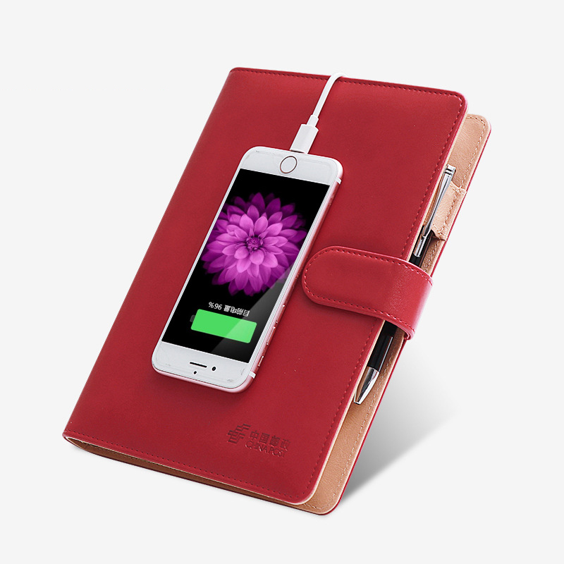 High quality multifunction notebook A5, wireless charger, 100 pages 142 * 210 mm, customizable logo