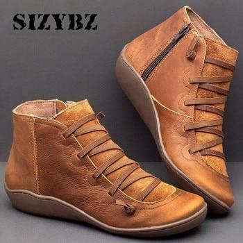 Женские зимние Ботинки, Ботильоны из искусственной кожи, весенние ботинки на плоской подошве, короткие коричневые ботинки с мехом для женщин, женские ботинки на шнуровке