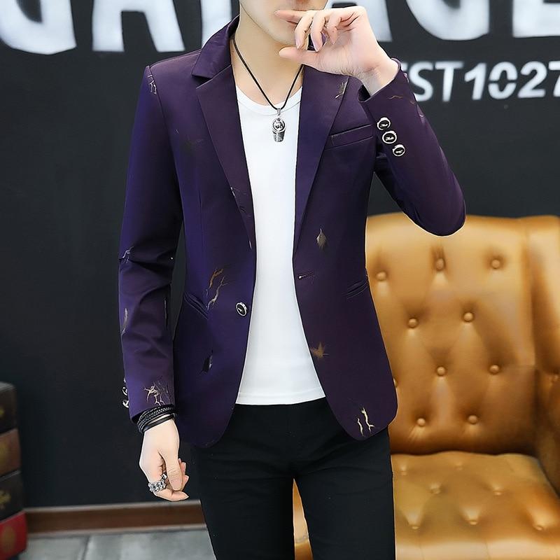 2019 Youth Slim blazer Men Fashion Casual Spring Print blazer