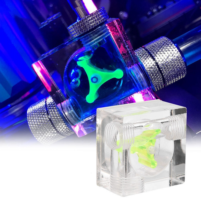 Acrylic PC Computer Water Cooling G1//4 Thread 3-Ways Water Flow Meter Indicator
