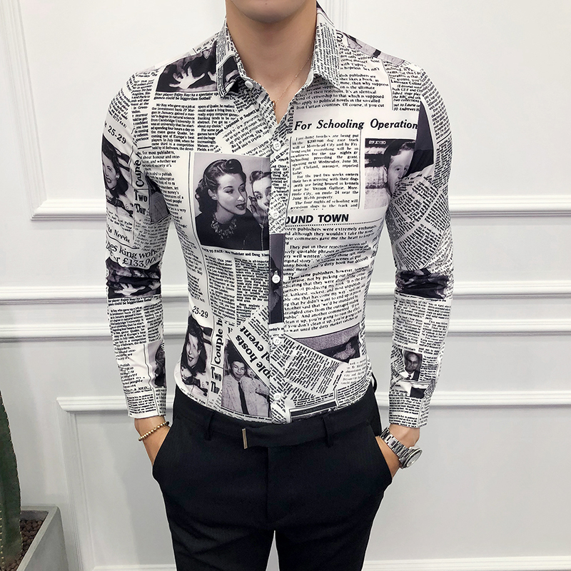 Social Shirt Men's Long Sleeve Casual Vintage Shirts Man Newspaper Printed Shirts Male Fashions Blouse Slim Fit Clothing 2020