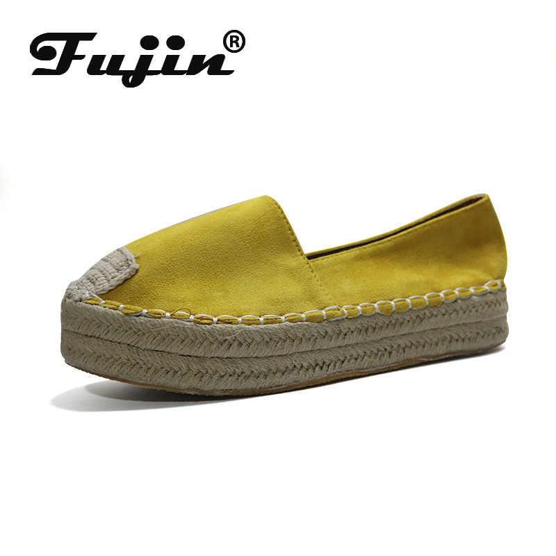 Fujin; женская повседневная обувь на плоской подошве; сезон осень-зима; Новинка; пеньковая веревка; леопардовый принт; лоферы на плоской платформе; chaussures femme; большие размеры 35-43