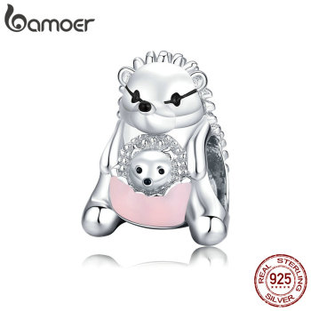 Bamoer 925 Sterling Silver Mother Hedgehog Pets Metal Charm For Original Silver Bracelet Fine Jewelry DIY Bangle BSC239