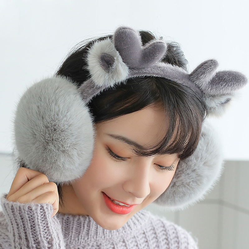 Winter Warm Earmuffs Female Japanese Style Lovely Cartoon Deer Christmas Antlers Plush Folding High Quality Cold-proof Earmuffs