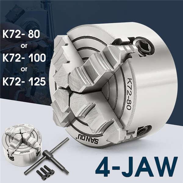 K72-80/K72-100/K72-125 4 Backen-drehfutter 80mm/100mm /125mm Unabhängige 1 stücke Sicherheit Chuck Key 3 stücke Montage Bolzen