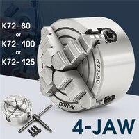K72 80/K72 100/K72 125 4 Jaw Lathe Chuck 80mm/100mm/125mm Independent 1pcs Safety Chuck Key 3pcs Mounting Bolt