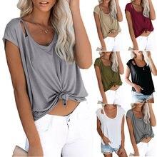 Camiseta casual de verão para mulheres soild hole algodão