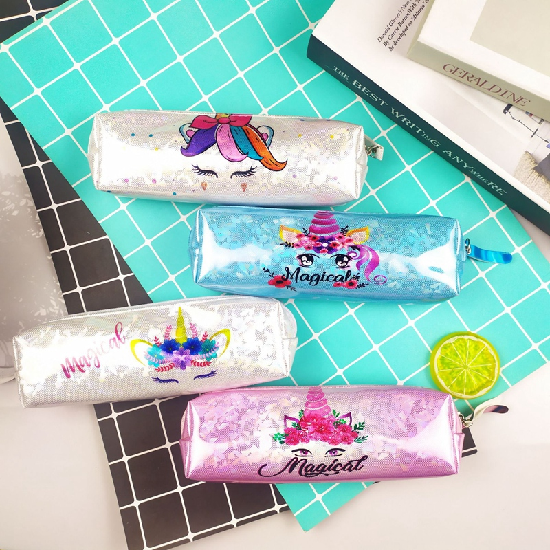 Unicorn Pencil Case Holographic Laser Pencil Cases For Boy Girl Large Capacity PU Waterproof Pen Box School Supplies Stationery