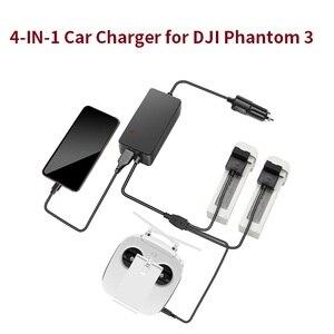 Image 1 - Chargeur de voiture pour DJI Phantom 3 Pro Adv, Standard, pour batterie de Drone, télécommande, Portable, rapide, voyage en plein air, Hub de charge