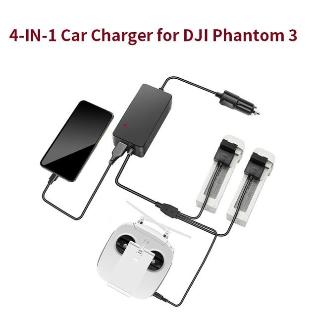 Chargeur de voiture pour DJI Phantom 3 Pro Adv, Standard, pour batterie de Drone, télécommande, Portable, rapide, voyage en plein air, Hub de charge