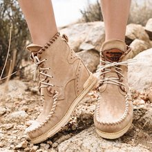 все цены на New Casual Womens Boots Flat Heel Ankle Boots Women Shoes Autumn Winter Fashion Round Toe Lace-Up Sewing Botas Mujer Size 35-43