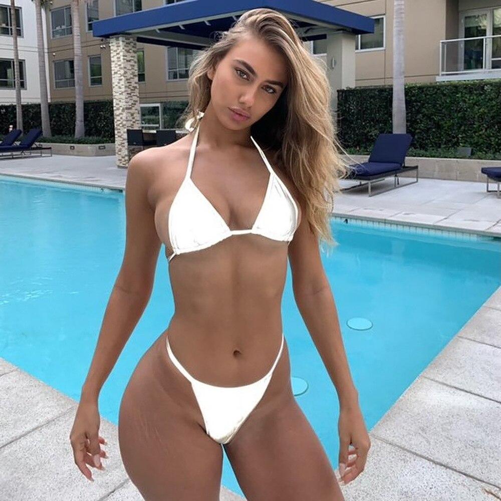 Reflective Silver Bikini Micro Swimwear Glowing Swimsuit Thong Bikini Sets Women Beachwear Bathing Suits Brazilian Biquini in Bikinis Set from Sports Entertainment