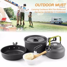 Camping Cookware Mini Pot Pans Kettle Bowls Non-stick Set Hiking Backpacking Picnic Cutlery Utensils Trekking Travel(China)