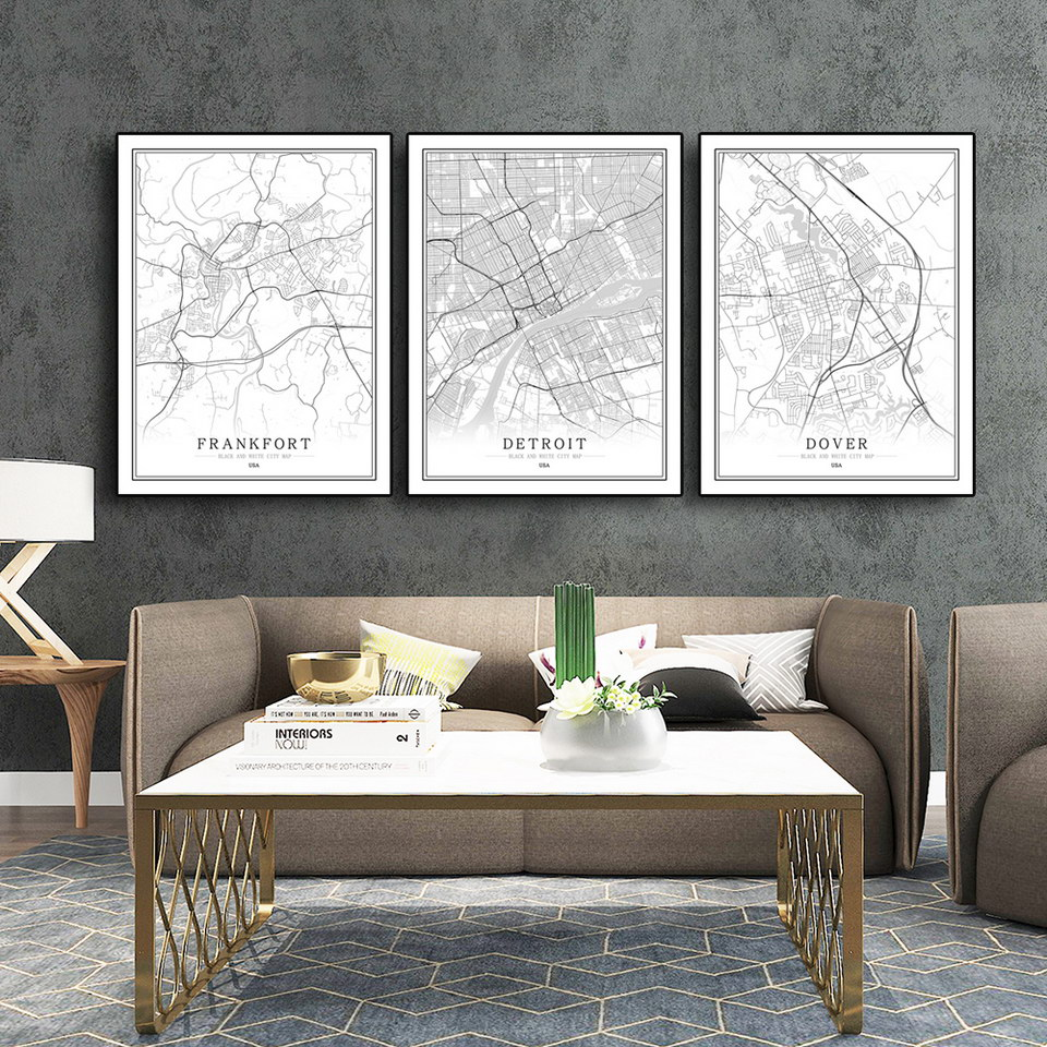America USA D-L Black White City Map Poster Living Room Las Vegas Houston Detroit Wall Art Pictures Home Decor Canvas Painting image
