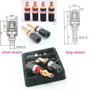 Image 4 - 4 adet 8 adet XSSH ses HIFI gerçek kırmızı bakır muz fiş dişi soket hoparlör güç amplifikatörü terminali uzun kısa bağlama sonrası