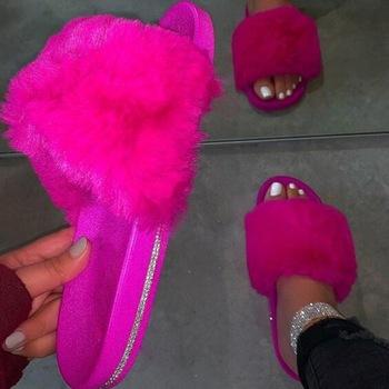 Adisputent damskie futrzane kapcie buty futrzane puszyste kapcie letnie odkryte kapcie domowe kobiece klapki slajdy dla kobiety 2020 tanie i dobre opinie Futro CN (pochodzenie) Mieszkanie (≤1cm) Pasuje prawda na wymiar weź swój normalny rozmiar woman shoes Podstawowe ROME