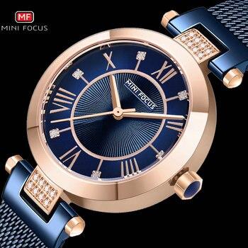 MINI FOCUS Casual Women Watches Rhinestone Design Top Luxury Brand Quartz Clock Simple Dress Ladies Watch Waterproof reloj mujer