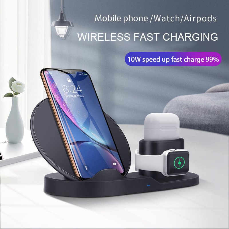 Wireless Charger 3 In 1 Fast Charging 10W QC 3.0 Mobile Phone Charger for Iphone Apple Watch IWatch Airpods Charger Station DockWireless Chargers   -
