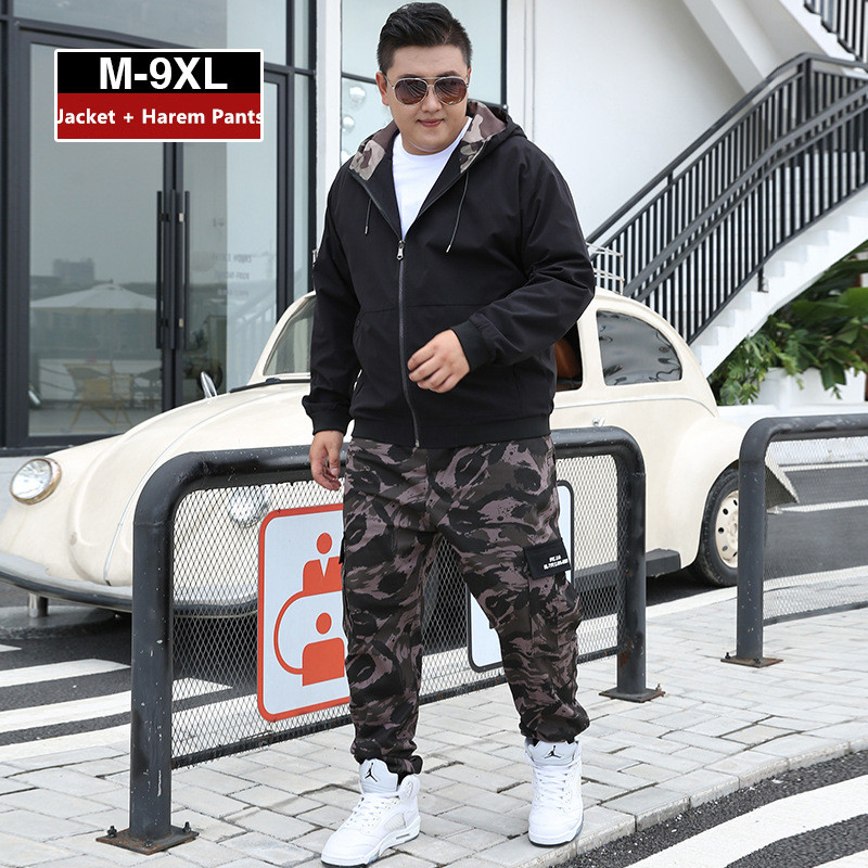 Men Clothes 2019 Tracksuit Harem Cargo Camouflage Jacket Pants 2 Piece Set Mens Hoodies XXXXL Coat Track Suit 6XL 7XL 8XL 9XL