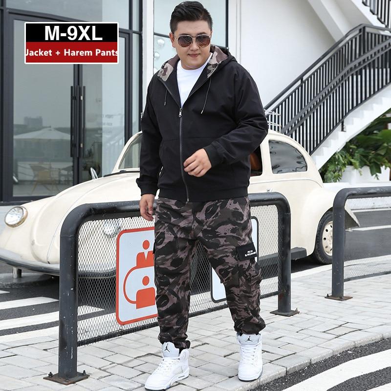 Men Clothes 2020 Tracksuit Harem Cargo Camouflage Jacket Pants 2 Piece Set Mens Hoodies XXXXL Coat Track Suit 6XL 7XL 8XL 9XL