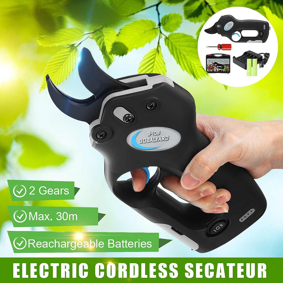 Cordless Electric Branch Cutter Rechargeable Pruning Shears Secateur Branch Cutter Electric Fruit Pruning Tool Garden Pruner