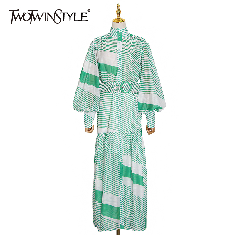 TWOTWINSTYLE Patchwork Irregular Striped Women Dress Stand Collar Lantern Sleeve High Waist With Sashes Dresses Female 2020 New