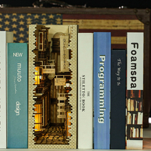 Book Nook Mysterious Ancient Streets DIY Bookend Book Shelf Insert,Booknook, Bookcase with Light Model Building Kit